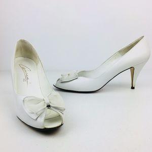 Caressa Vintage Leather Peep Toe High Heels